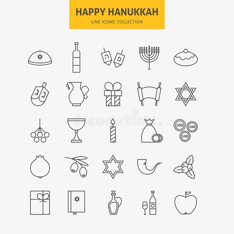 Ligne grand ensemble d'icônes heureuses juives de Hanoucca illustration stock
