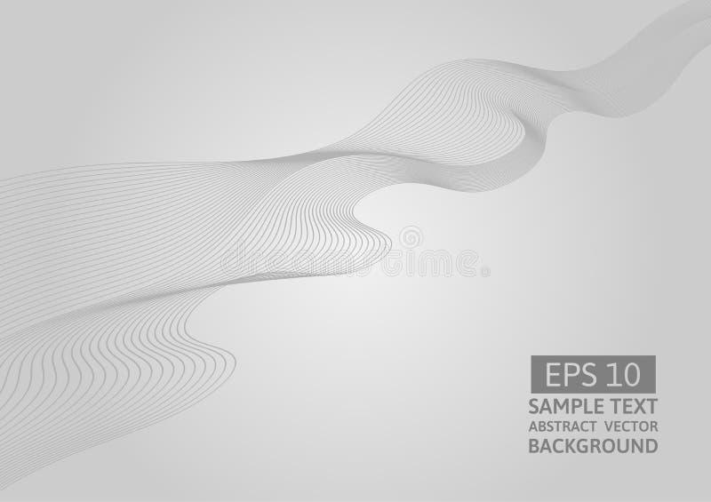 Ligne grise fond de vecteur d'abrégé sur vague avec l'espace de copie illustration libre de droits