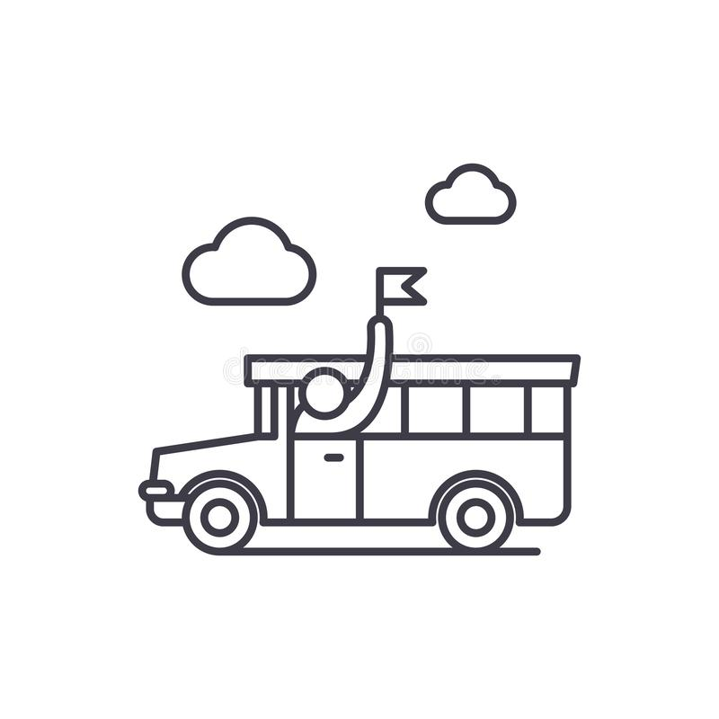 Ligne guidée concept de visite d'icône Illustration linéaire guidée de vecteur de visite, symbole, signe illustration de vecteur