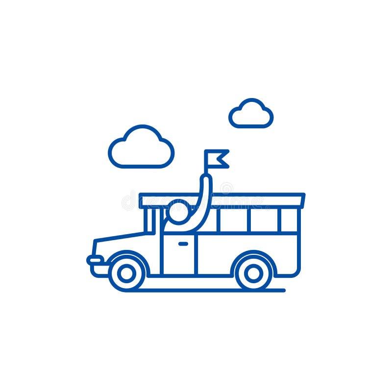 Ligne guidée concept de visite d'icône Symbole plat guidé de vecteur de visite, signe, illustration d'ensemble illustration stock
