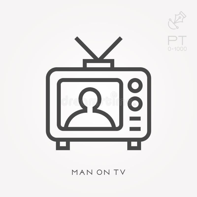 Ligne homme d'icône à la TV illustration stock