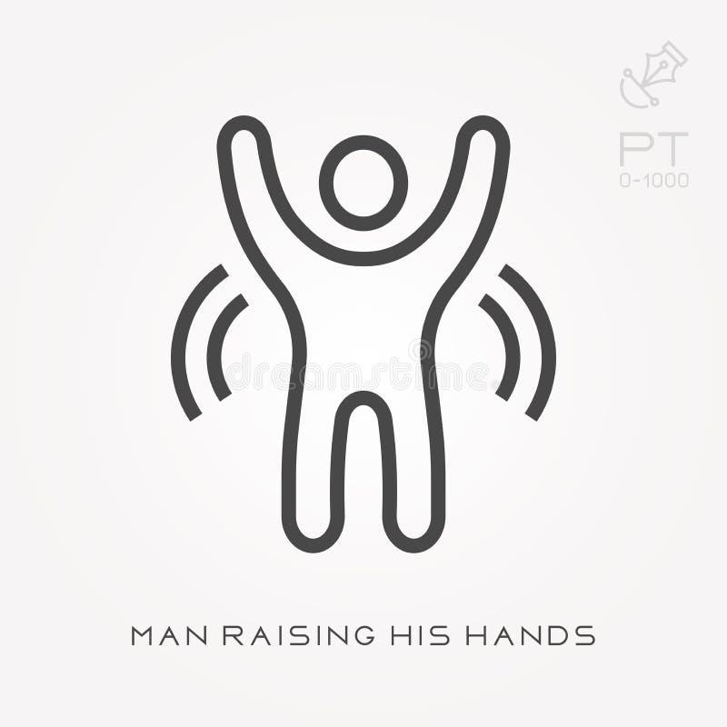 Ligne homme d'ic?ne soulevant ses mains illustration stock