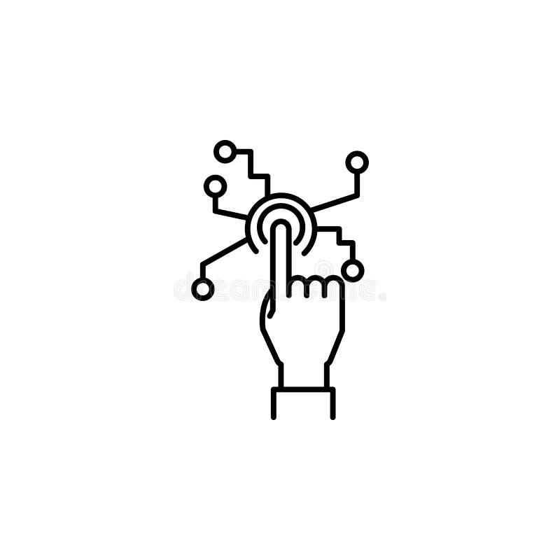 Ligne humaine icône de concept de technologies de contact de main Illustration simple d'élément Symbole humain d'ensemble de conc illustration libre de droits