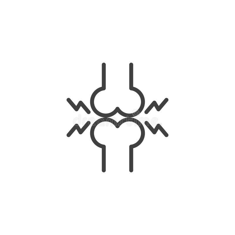Ligne humaine icône de douleur osseuse illustration de vecteur