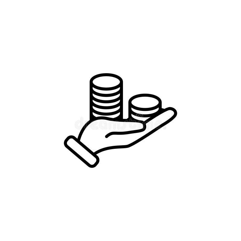 Ligne icône Argent à disposition illustration de vecteur