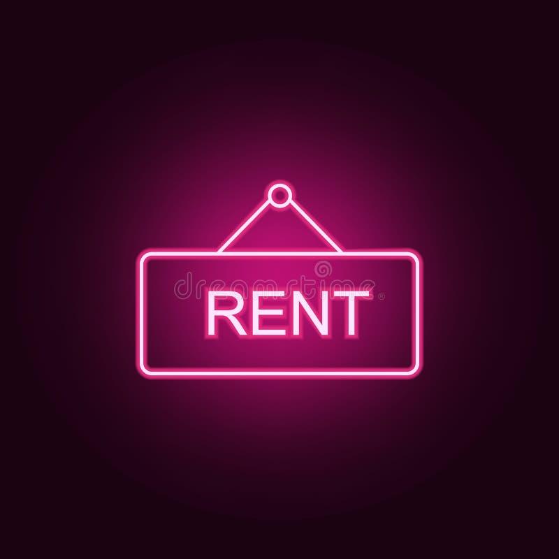 Ligne icône au néon de signe de loyer ?l?ments d'ensemble de Real Estate E illustration libre de droits