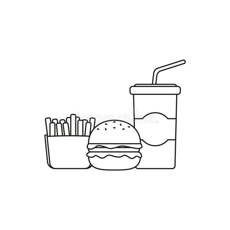 Ligne icône - boisson, pommes frites et hamburger d'aliments de préparation rapide de soude illustration de vecteur
