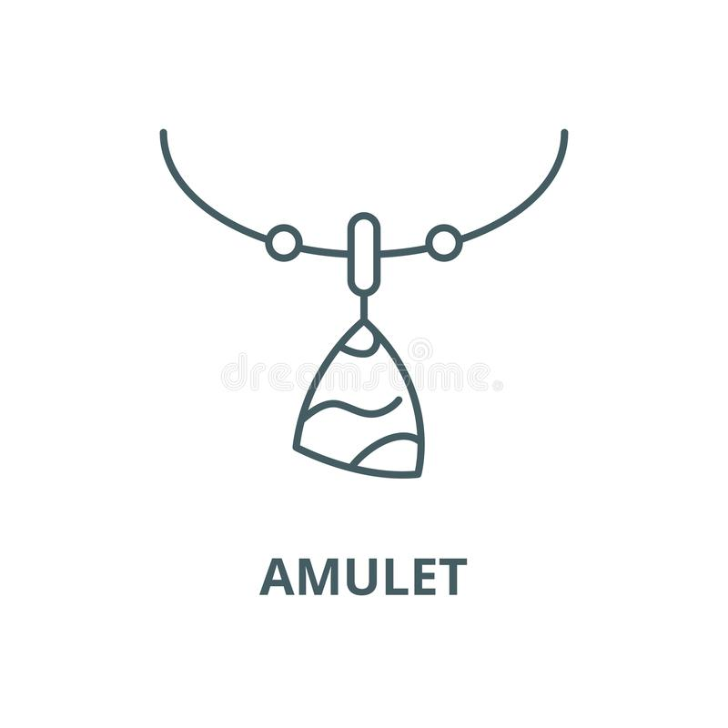 Ligne icône, concept d'ensemble, signe linéaire de vecteur d'amulette illustration stock