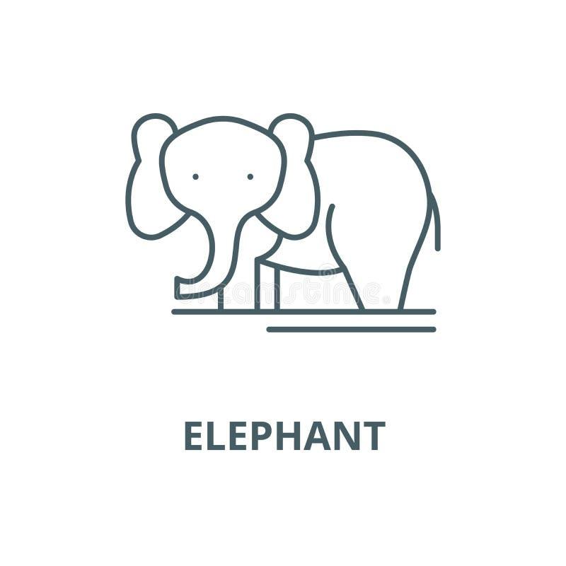 Ligne icône, concept linéaire, signe d'ensemble, symbole de vecteur d'éléphant illustration de vecteur