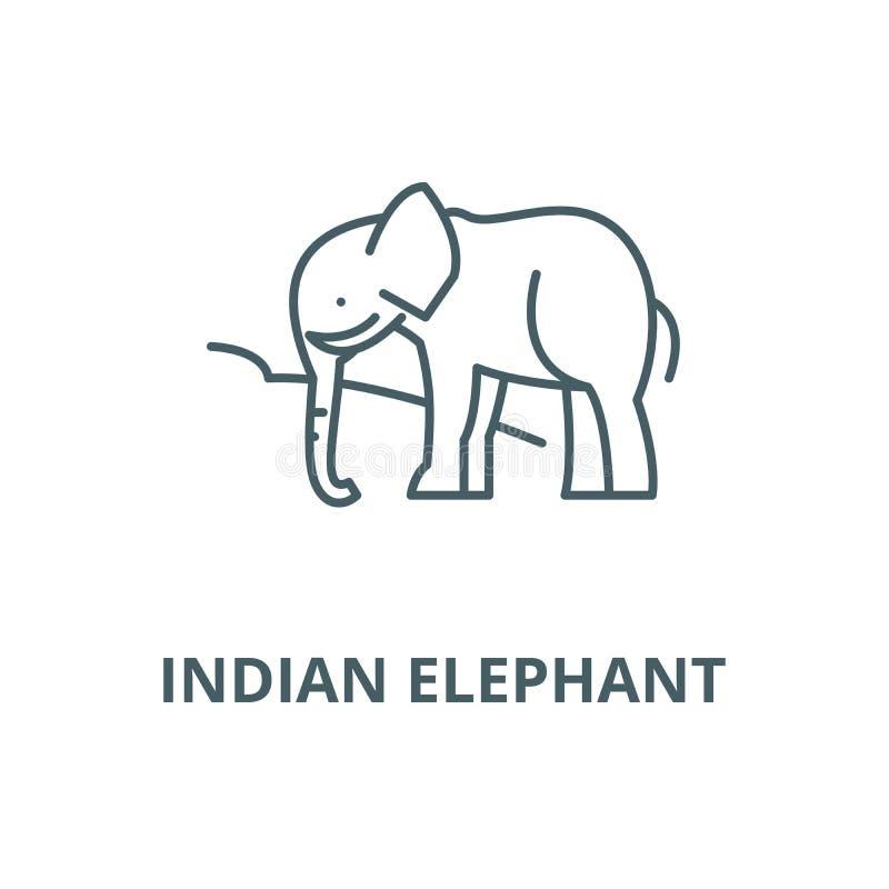 Ligne icône, concept linéaire, signe d'ensemble, symbole de vecteur d'éléphant d'Asie illustration stock