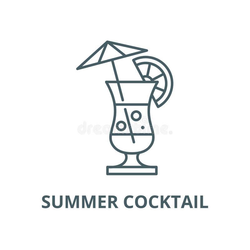Ligne icône, concept linéaire, signe d'ensemble, symbole de vecteur de cocktail d'été illustration libre de droits