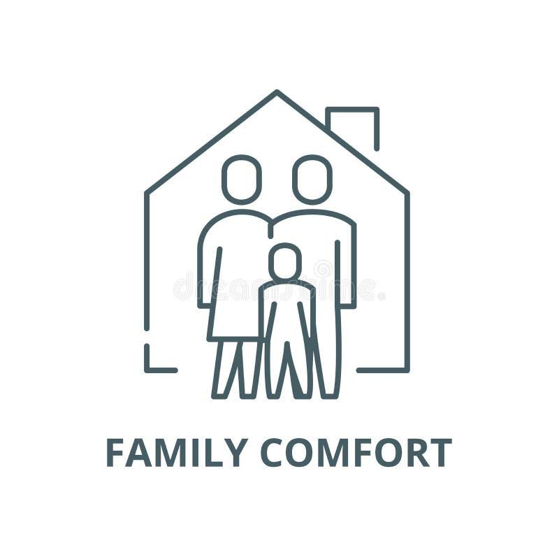 Ligne icône, concept linéaire, signe d'ensemble, symbole de vecteur de confort de famille illustration libre de droits