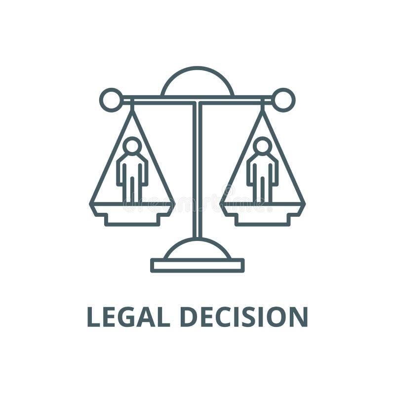 Ligne icône, concept linéaire, signe d'ensemble, symbole de vecteur de décision juridique illustration stock