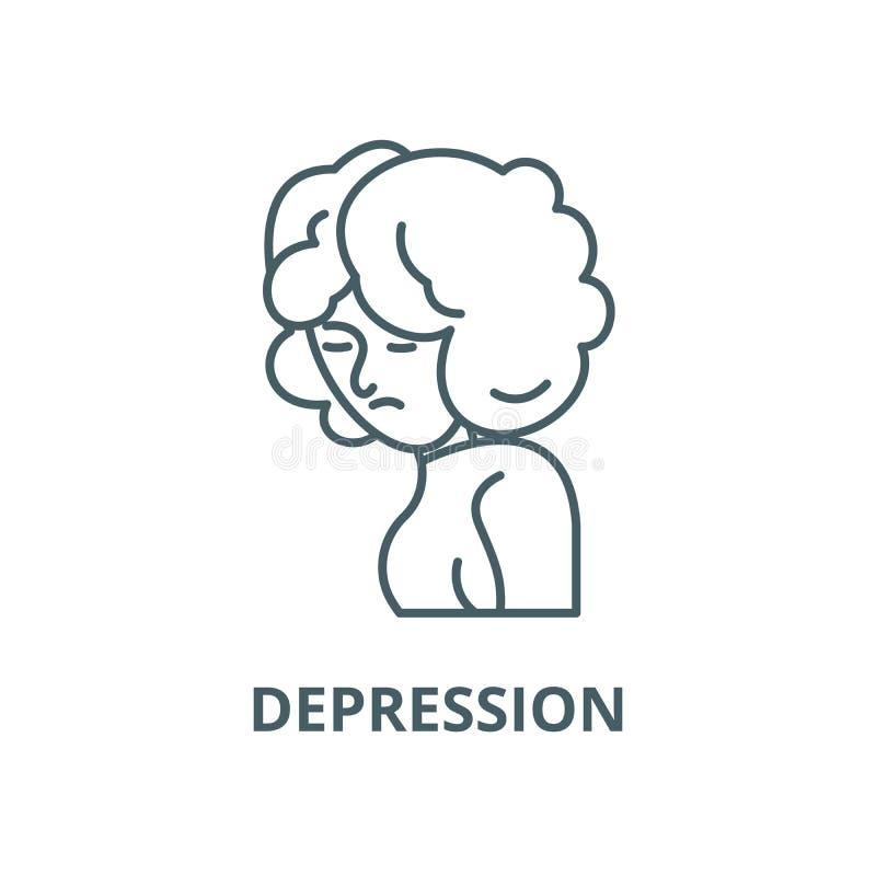 Ligne icône, concept linéaire, signe d'ensemble, symbole de vecteur de dépression illustration de vecteur