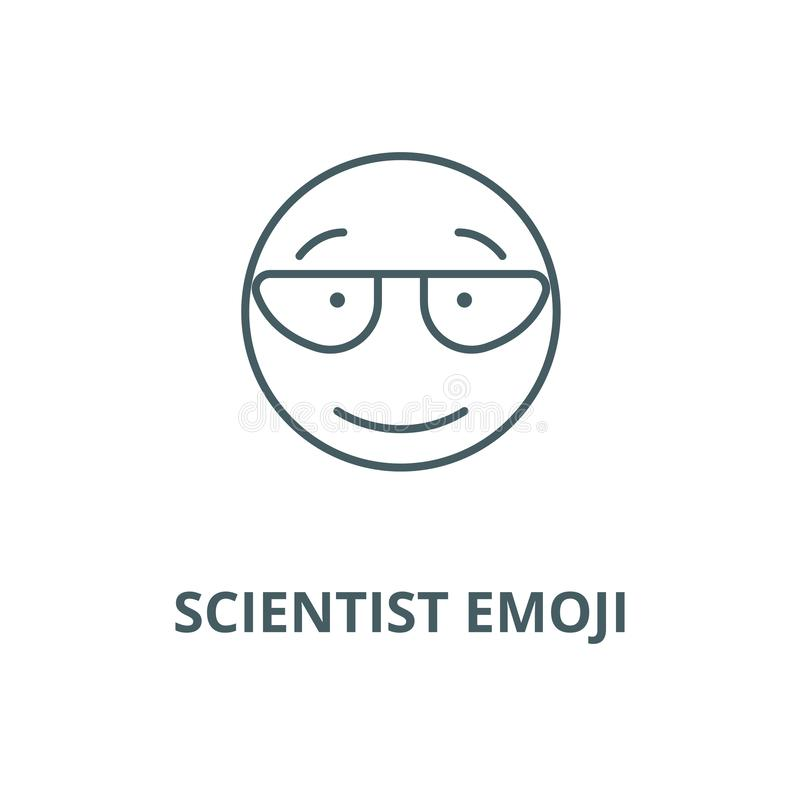 Ligne icône, concept linéaire, signe d'ensemble, symbole de vecteur d'emoji de scientifique illustration libre de droits