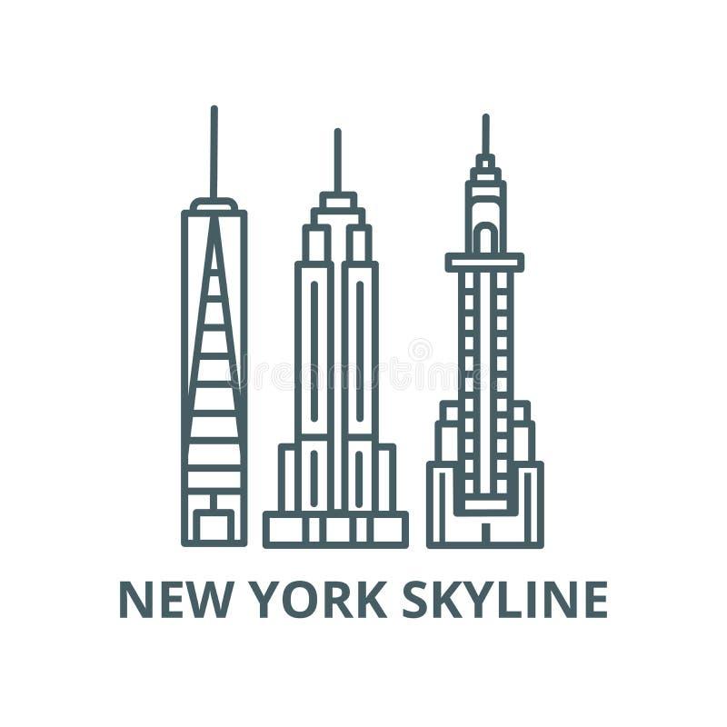 Ligne icône, concept linéaire, signe d'ensemble, symbole de vecteur d'horizon de New York illustration libre de droits