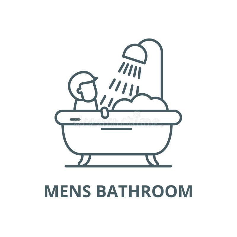 Ligne icône, concept linéaire, signe d'ensemble, symbole de vecteur de la salle de bains des hommes illustration de vecteur