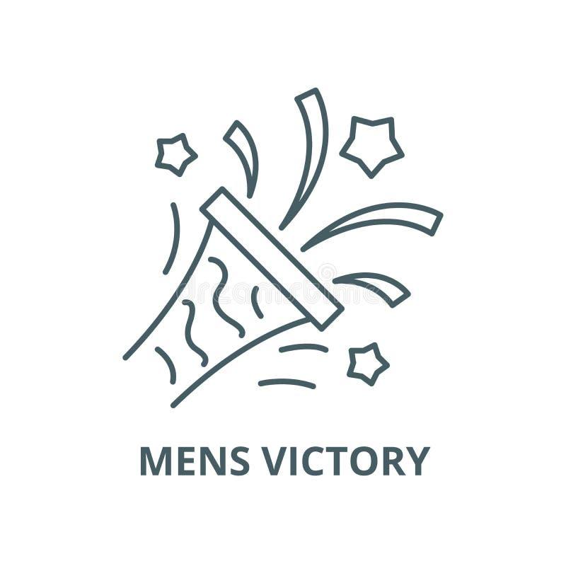Ligne icône, concept linéaire, signe d'ensemble, symbole de vecteur de la victoire des hommes illustration stock