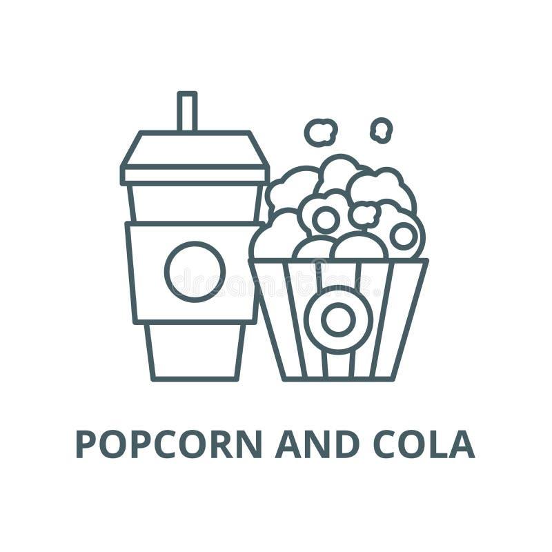 Ligne icône, concept linéaire, signe d'ensemble, symbole de vecteur de maïs éclaté et de kola illustration de vecteur