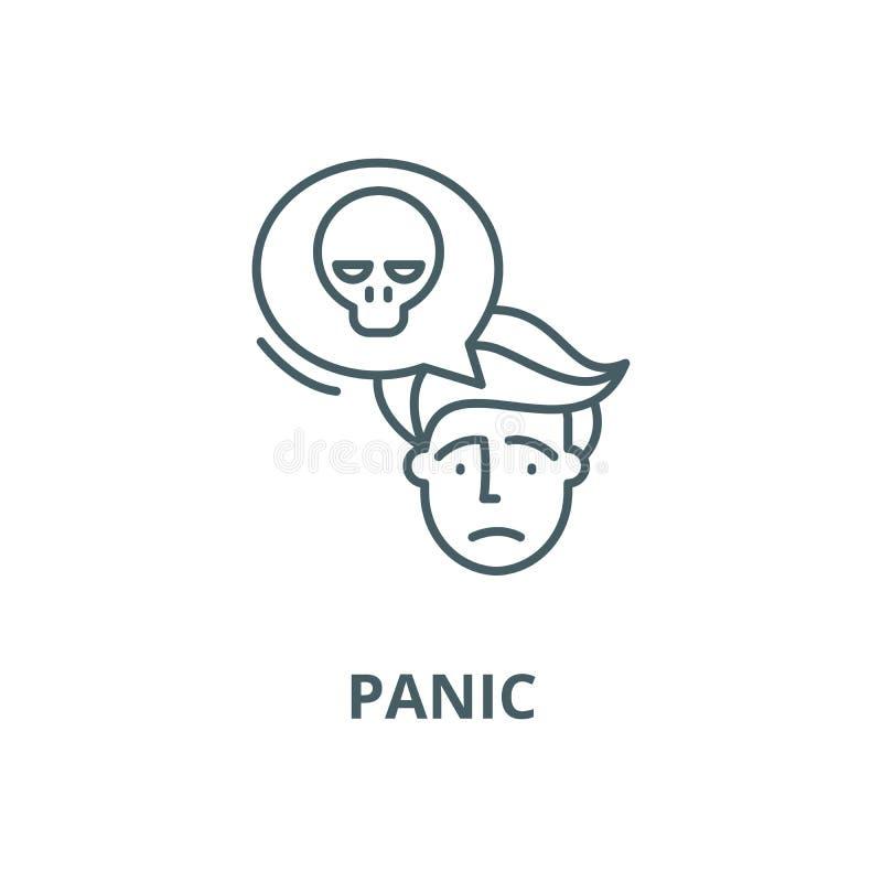 Ligne icône, concept linéaire, signe d'ensemble, symbole de vecteur de panique illustration libre de droits