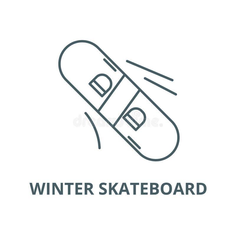 Ligne icône, concept linéaire, signe d'ensemble, symbole de vecteur de planche à roulettes d'hiver illustration stock