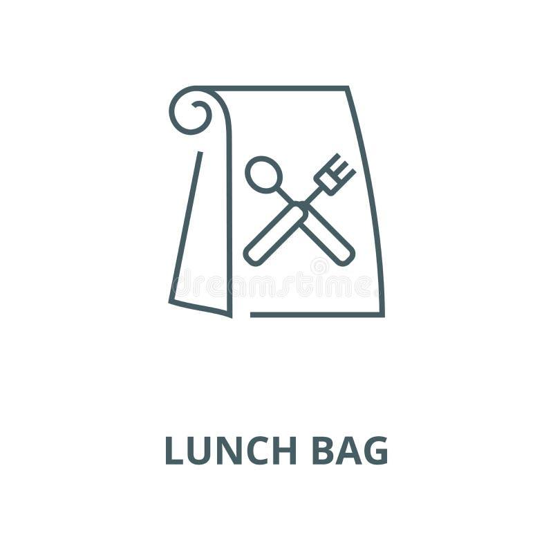 Ligne icône, concept linéaire, signe d'ensemble, symbole de vecteur de sac de déjeuner illustration libre de droits