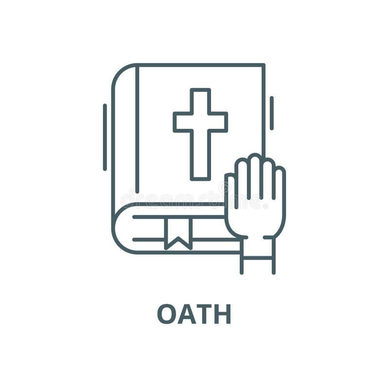 Ligne icône, concept linéaire, signe d'ensemble, symbole de vecteur de serment illustration de vecteur