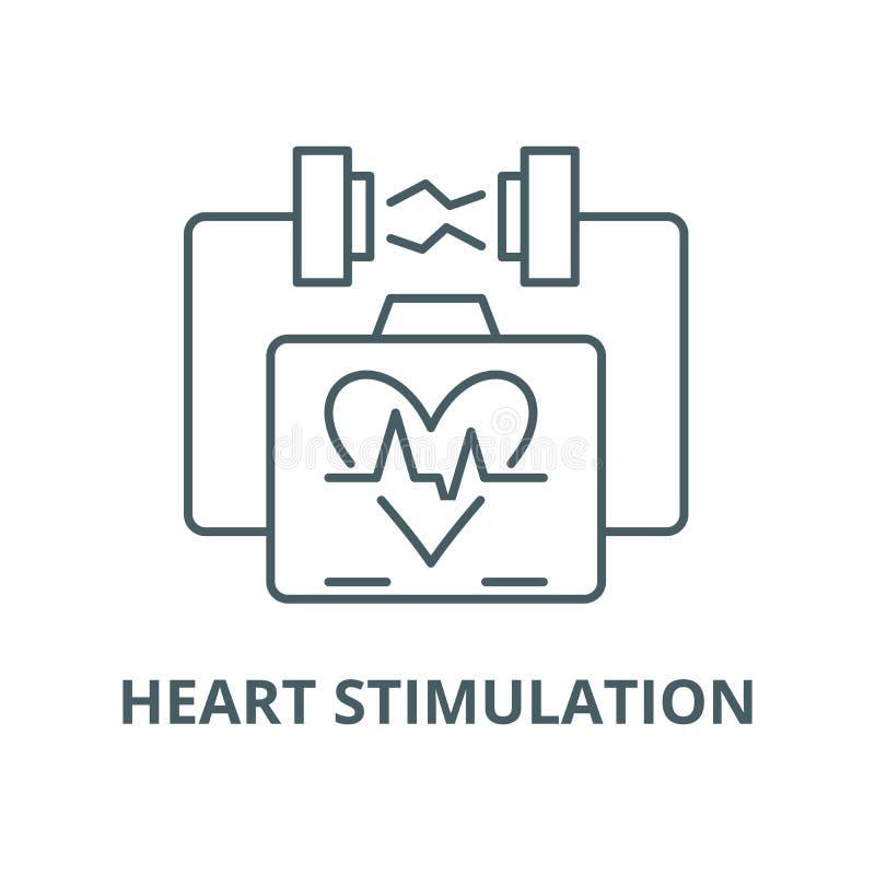 Ligne icône, concept linéaire, signe d'ensemble, symbole de vecteur de stimulation de coeur illustration libre de droits