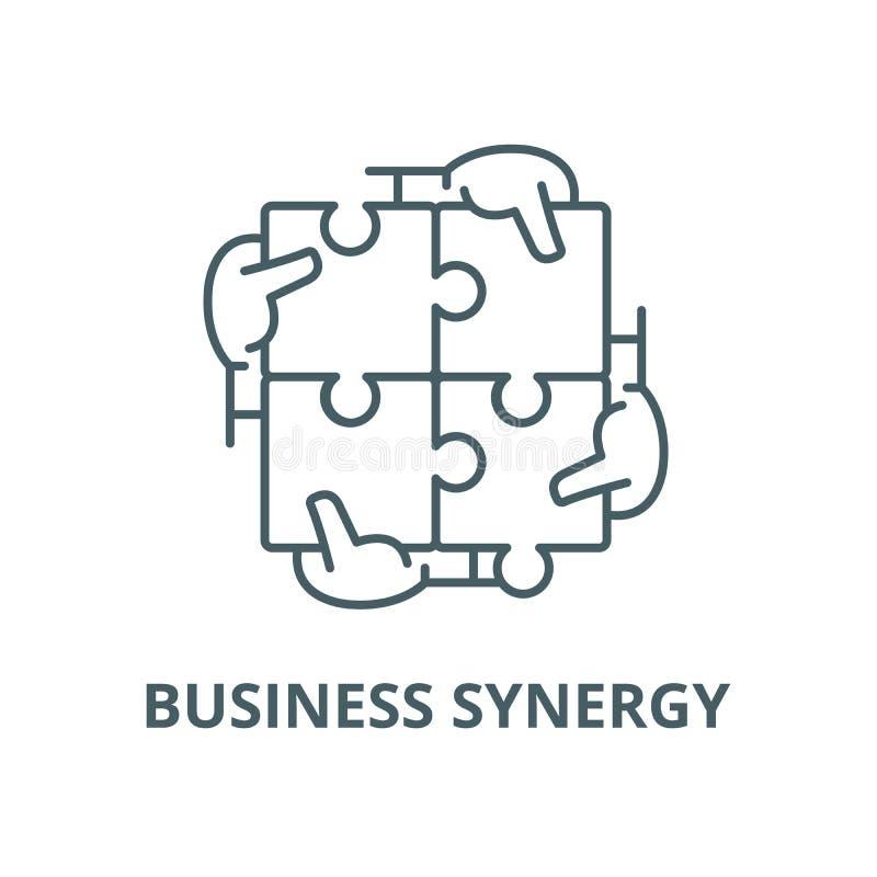 Ligne icône, concept linéaire, signe d'ensemble, symbole de vecteur de synergie d'affaires illustration stock