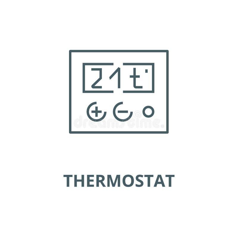 Ligne icône, concept linéaire, signe d'ensemble, symbole de vecteur de thermostat illustration de vecteur