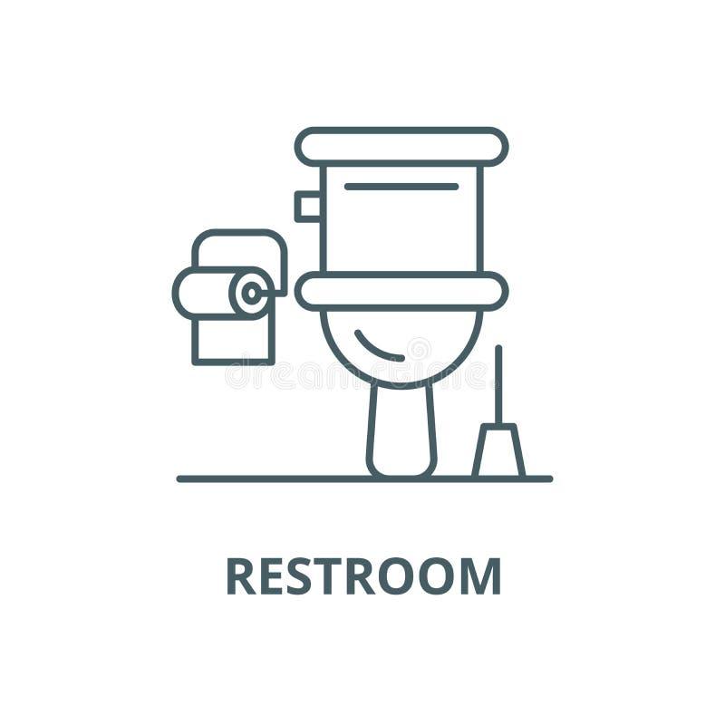 Ligne icône, concept linéaire, signe d'ensemble, symbole de vecteur de toilettes illustration stock