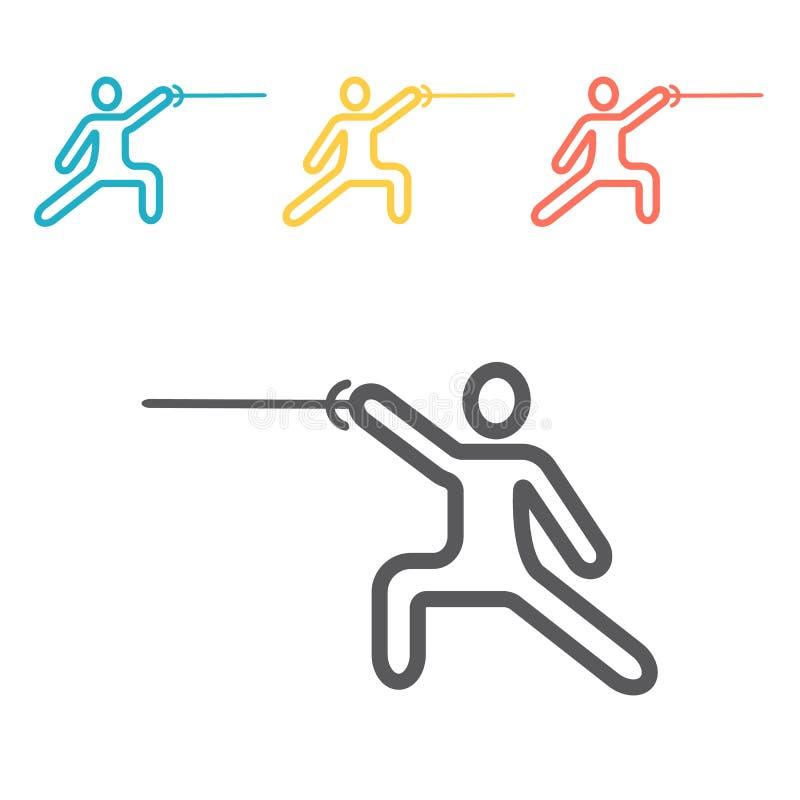 Ligne icône d'épéiste Signe de vecteur pour des graphiques de Web illustration de vecteur