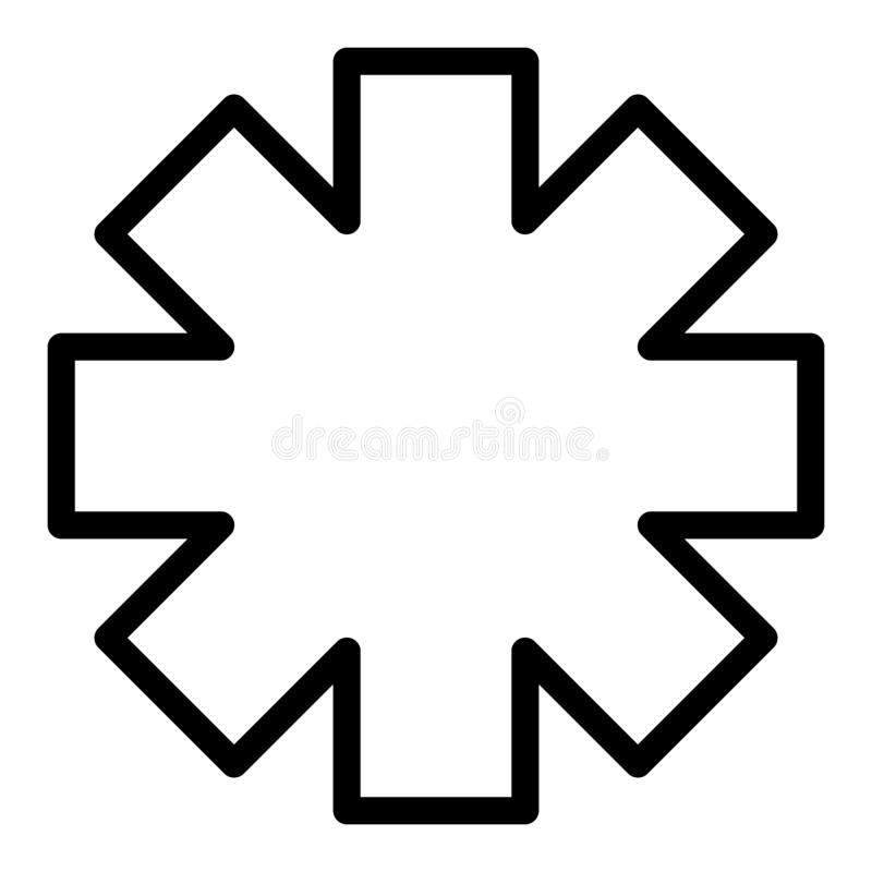 Ligne icône d'étoile de secours Illustration de vecteur de signe d'ambulance d'isolement sur le blanc Conception médicale de styl illustration stock