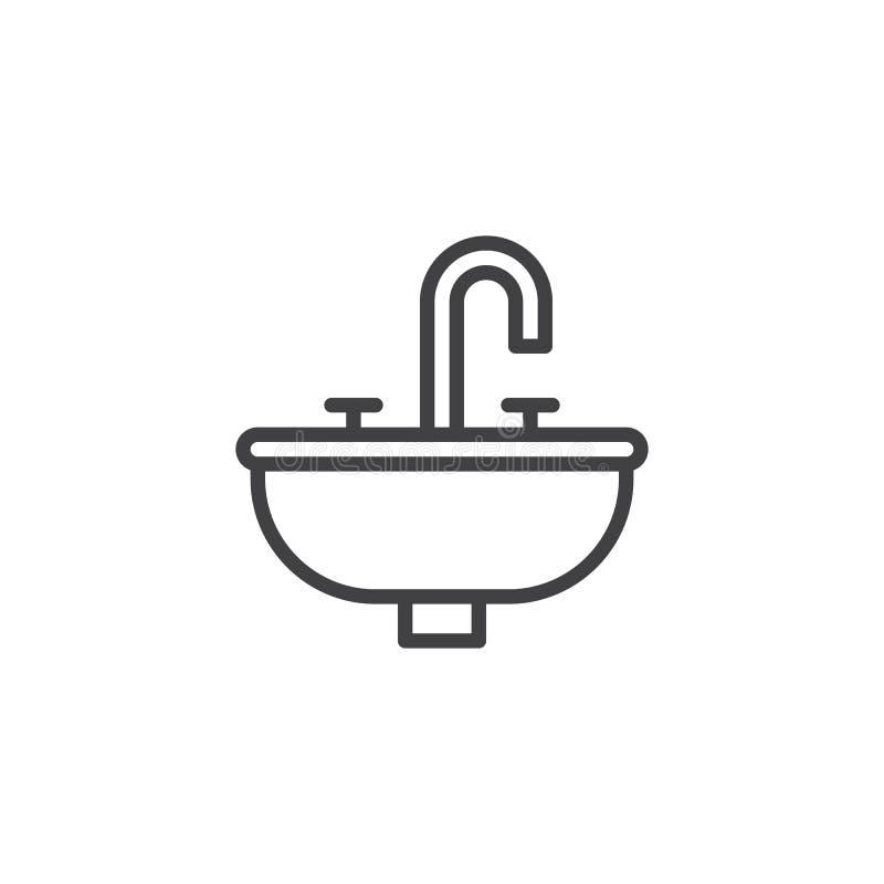 Ligne icône d'évier d'hôtel illustration libre de droits