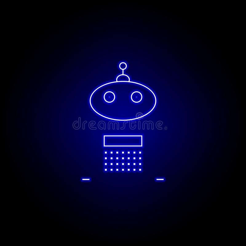 ligne icône d'adolescent de robot dans le style au néon bleu Des signes et les symboles peuvent ?tre employ?s pour le Web, logo,  illustration libre de droits