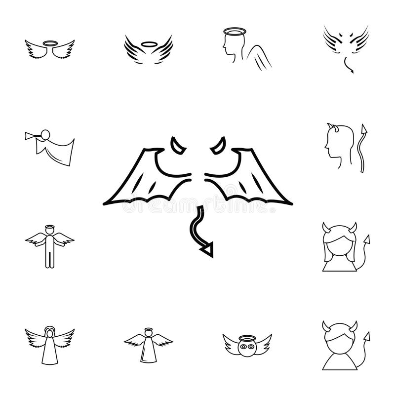Ligne icône d'ailes L'ensemble simple d'ange et de démon a rapporté des icônes d'ensemble Éléments pour les apps mobiles de conce illustration de vecteur