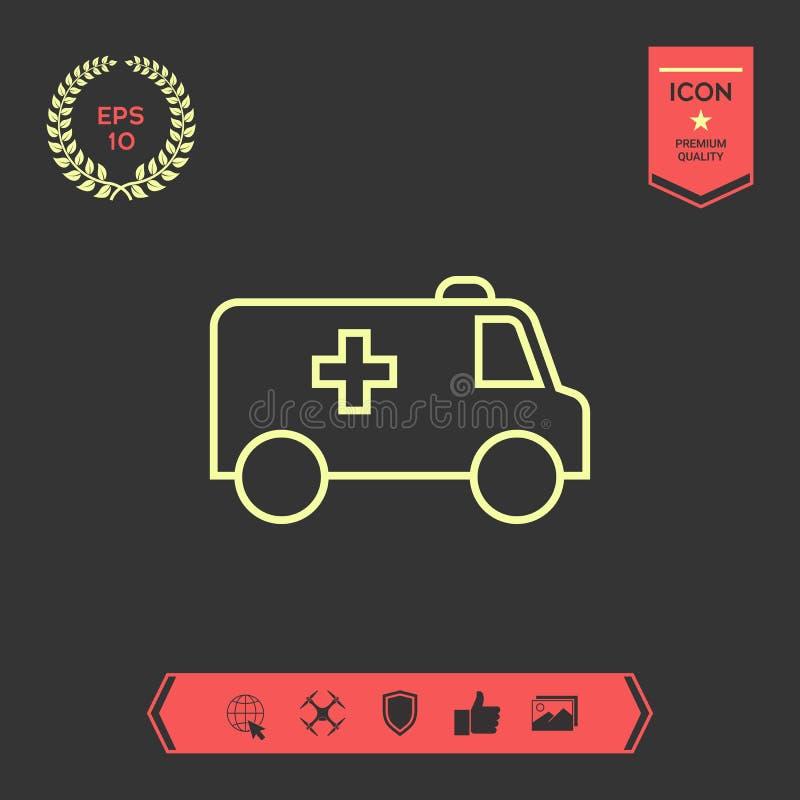 Ligne icône d'ambulance Éléments graphiques pour votre conception illustration stock