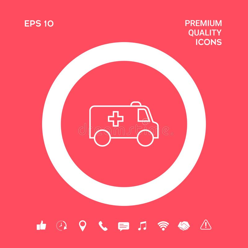 Ligne icône d'ambulance Éléments graphiques pour votre conception illustration de vecteur