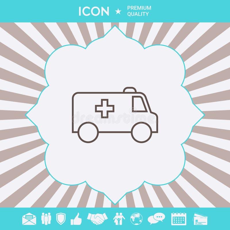 Ligne icône d'ambulance Éléments graphiques pour votre conception illustration libre de droits
