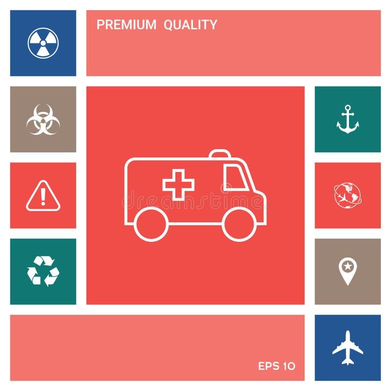 Ligne icône d'ambulance Éléments pour votre conception illustration stock