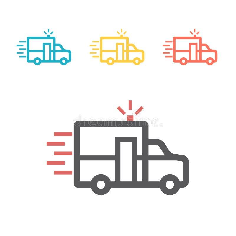 Ligne icône d'ambulance Signe de vecteur pour le graphique de Web illustration stock