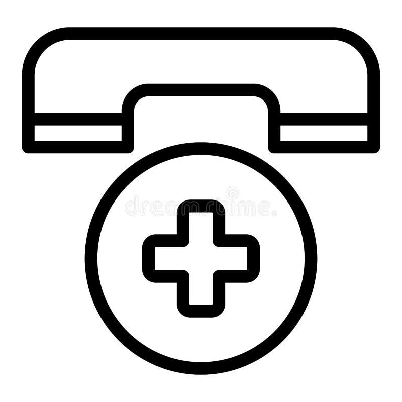 Ligne icône d'appel d'urgence Illustration de vecteur de symbole de téléphone d'ambulance d'isolement sur le blanc Téléphone et c illustration de vecteur
