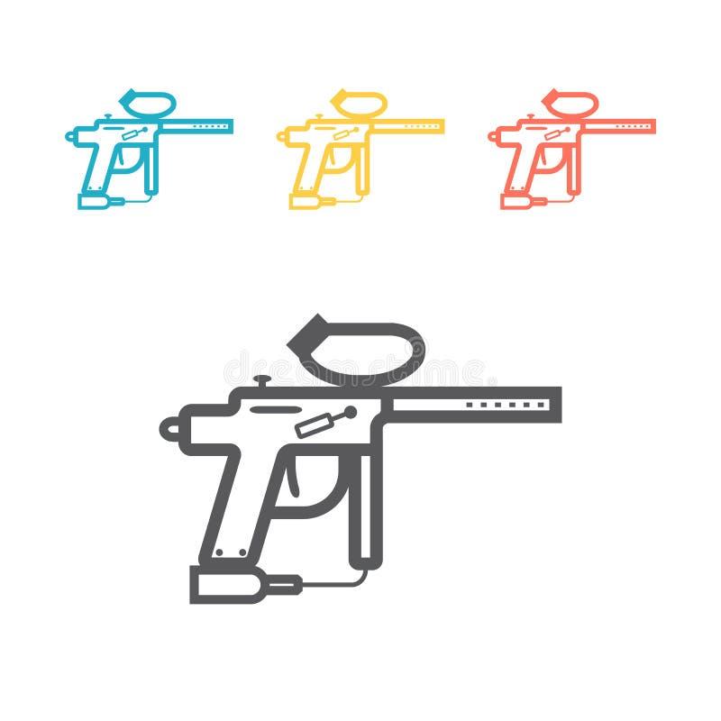Ligne icône d'arme de Paintball Signe de vecteur pour le graphique de Web illustration de vecteur