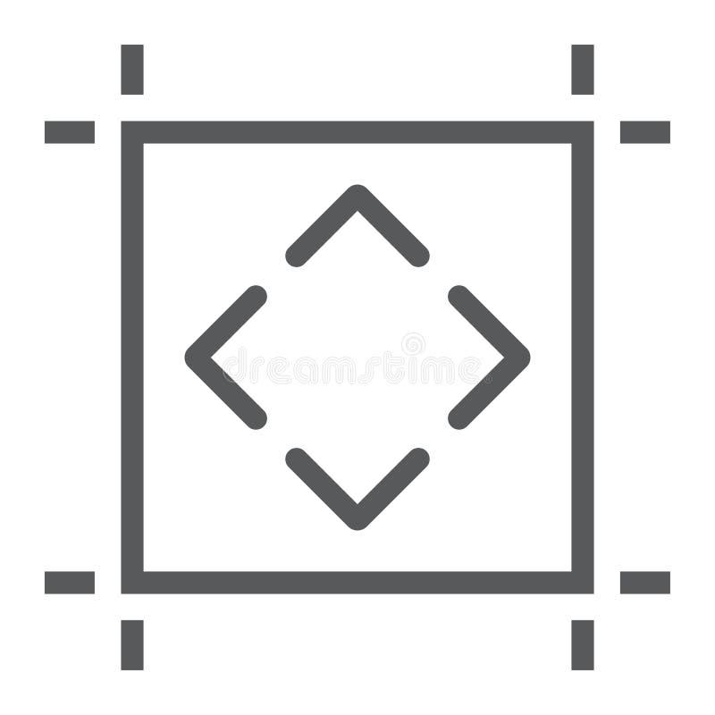 Ligne icône d'Artboard, outils et conception, signe de conseil illustration stock