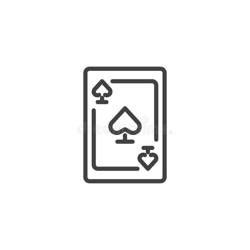 Ligne icône d'as de pique illustration stock