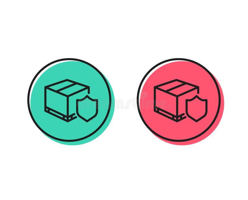 Ligne icône d'assurance de la livraison Colis dépistant le signe Vecteur illustration libre de droits