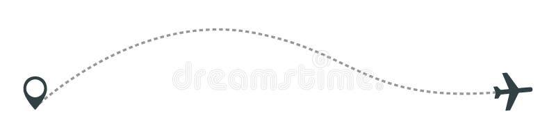 Ligne icône d'avion de vecteur de chemin d'itinéraire de vol d'avion d'air avec le point et la ligne trace de début de tiret illustration de vecteur