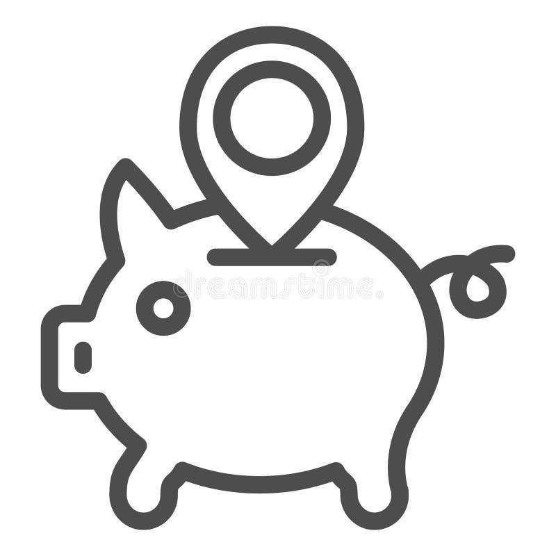 Ligne icône d'emplacement de tirelire Tirelire avec l'illustration de vecteur de goupille de carte d'isolement sur le blanc Conto illustration libre de droits