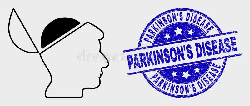 Ligne icône d'esprit ouvert et joint grunge de vecteur de timbre de maladie de Parkinson illustration stock