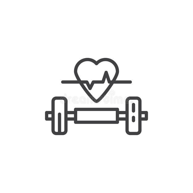 Ligne icône d'haltère et de coeur illustration stock